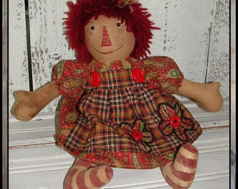 Primitive hand embroidered raggedy red yarn hair HAFAIR rag doll appliqued apron OFG faap lazy dayz lucy