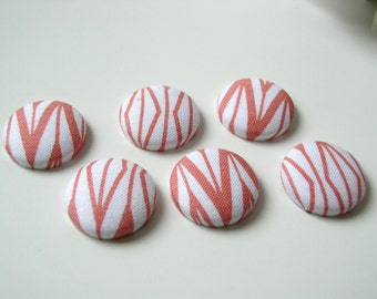 Coral and White Modern Fabric Magnets -- Set of 6 Extra Strong Rare Earth Magnets for Magnet Board or Fridge TEACHER gift