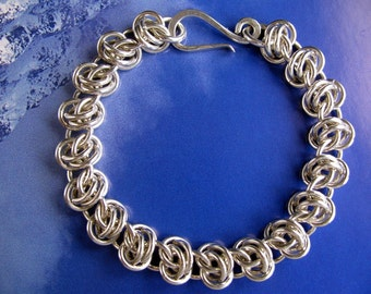 Solid Sterling Silver Chain Bracelet, Medium Heavy Chainmaille Bracelet, Handmade Jewelry
