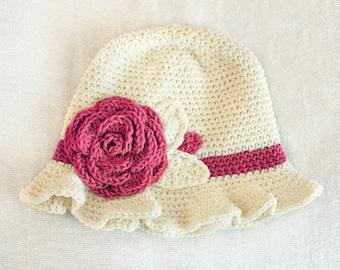 12 to 24m Crochet Sun Hat Baby Hat in Cream and Raspberry Pink Crochet Rose Flower Hat Cloche Hat Baby Girl Baby Flapper Girl Prop
