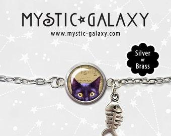 Black Cat Bracelet, Cat Charm Bracelet, Peeking Cat Bracelet, Glass Dome Bracelet, Cat Jewelry