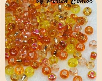 23 g glass beads 4 mm pink yellow mix preciosa seed beads (AZ1091)