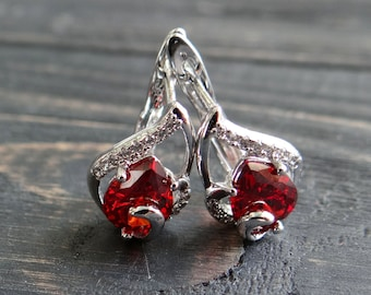 Vintage fashion red earrings gift for mom art deco wedding earrings bridal earrings silver plated Lever back earrings wife gift mother's day