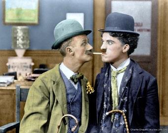 Charlie Chaplin ,Charlie Chaplin & Ben Turpin on the set of His New Job ,1915