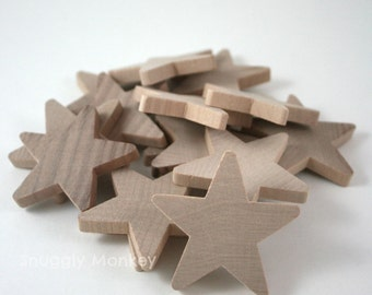 2 inch Wooden Stars (5 Pk) - Unfinished Wood Star Embellishments