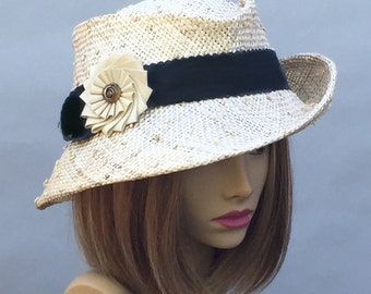 Gina, beautiful straw fedora with black grosgrain ribbon trim and knotted sisal straw