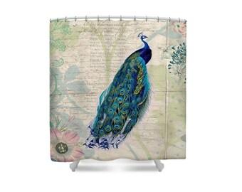 Peacock, Shower Curtain, Bird Shower Curtain, Bird Bathroom Decor, Botanical, Love Poem, Love Decor, Floral Bathroom, Blue Bathroom, Boho