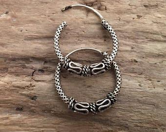 Vintage Hoops- Sterling Silver Earrings...Sterling Silver Hoops...Handmade Vintage Earrings...Ethnic...Hippy...Gypsy...LV123