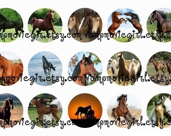 INSTANT DOWNLOAD...Horses and Ponies 1 Inch Circle Images Collage Sheet for Bottle Caps ...Buy 3 get 1 Free