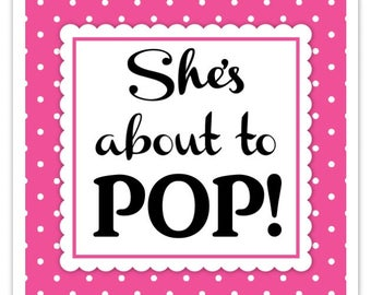 Hot Pink Polka Dot Baby Shower Stickers, About to Pop labels, Square (20 count)