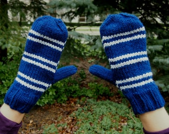 Harry Potter Ravenclaw Knit Mittens - Blue and Grey Stripes Hand Knitted Mitts - Harry Potter Inspired Costume Accessory - Ravenclaw Mittens