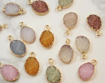 10PCS High Quality Oval Resin Druzy Pendant Charm Drop, Bezel Gem Druzy, Imitation Druzy , Wholesale Druzy , 10*18MM, Earrings Findings