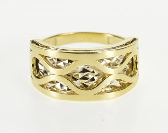 14K Two Tone Layered Look Geometric Design Band Ring Size 7 Yellow Gold