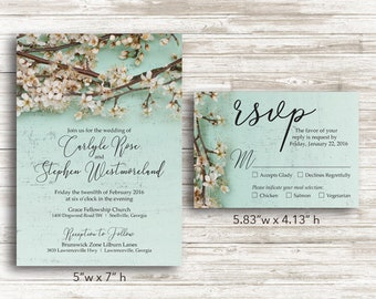 Paper Cherry Blossom Wedding Invitations and RSVP Cards with Envelopes