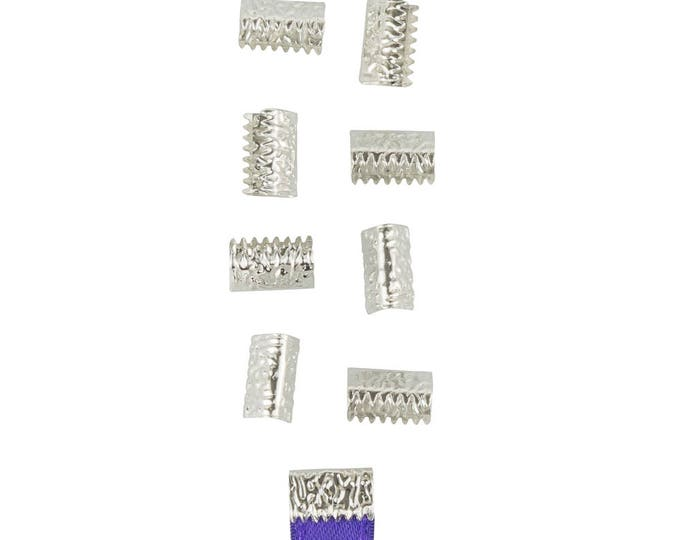 50 pieces 10mm or 3/8 inch Silver * NO LOOP *  Ribbon Clamp End Crimps - Artisan Series