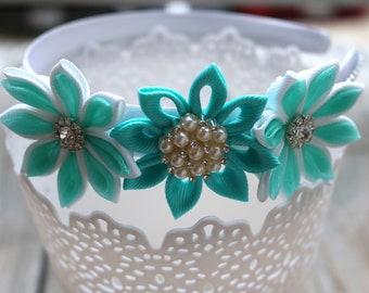 Mint Green Kanzashi Flower Headband