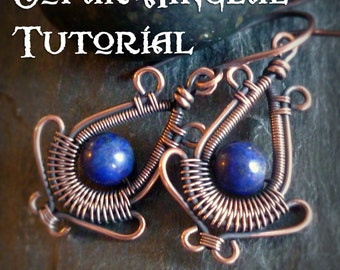TUTORIAL PagodaEarrings - Wire Wrapped Earring Lesson - Wirewrapped Dangling Earring Class - Round Bead Earring Pattern - 6mm Gemstone Beads