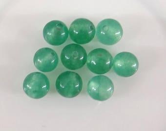 10 round 6 mm clear vtp017 green aventurine beads