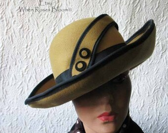 Hat Miss Phryne Fisher Style Classic Vintage Tailored Costume  Gatsby Elegance Retro 20's Hollywood Mustard Yellow & Black   WhenRosesBloom
