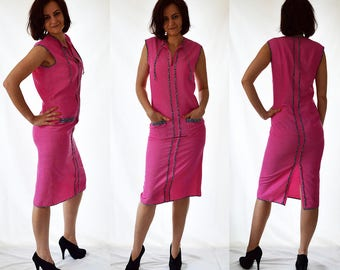 Pink, pencil, elegant, casual, sleeveless dress with front pockets. Size UK 12 / US 8