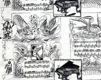 Angel Band, Music Motifs, J Wecker Frisch, Christmas Fabric, Quilting Cotton, Fabric By The Yard, Holiday Fabric, Music Notes