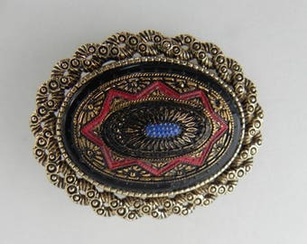 Sarah Coventry Brooch, Old Vienna, Tapestry, Oval Pin, Black Glass Cabochon, Collar Brooch, Pendant