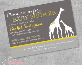 Mama and Baby Giraffe Shower Invitation