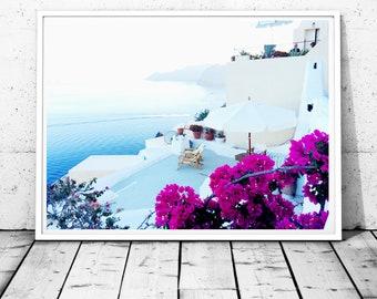 Santorini Print Greece Photography Santorini wall art Relax wall decor Sea print Ocean wall decor Greek islands print bougainvillea print