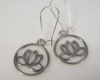 Lotus Flower lightweight earrings, nickel free kidney wire, yoga earrings, simple earrings, silver earrings dangle, meditation jewelry