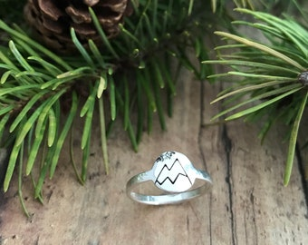 Mountain and Sun Ring, Sterling silver, Hand Stamped, Snow Capped Mountain and Sun Ring