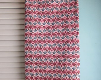 Vintage Quilting Cotton - Pink - Burgundy - Floral Check Fabric Yardage