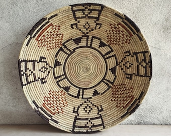 Shallow Woven Basket Beige and Brown Bohemian Decor, Southwestern Decor Native Style Coiled Basket Wall Decor,Basket Weaving Eclectic Decor