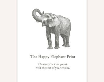 Elephant Decor, Personalized Typography Art Print, custom quote personalized gift