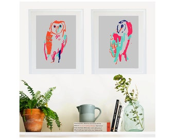Graphic Owls: Giclée Print of illustration by Laura McKendry