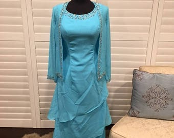 Aqua Blue Mother of the Bride Dress Sz S Full Length