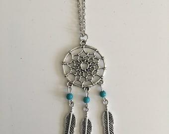 Boho necklace, feather necklace