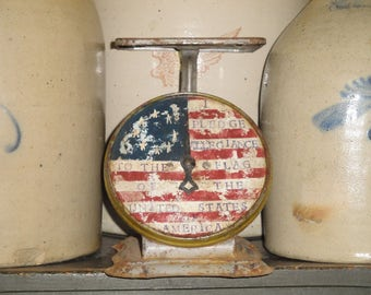 Americana Vintage Kitchen Scale Hand Painted And Stenciled | Old Glory Primitive Kitchen Scale | Red White And Blue Home Decor
