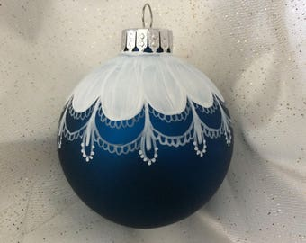 Dark Blue Hand painted Glass Christmas Ornament