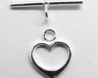 1 Piece 925 Sterling Silver Toggle Clasp Heart Shape 14mm