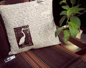 18 Inch Bird Pillow - Zippered - Egret Red Winged Black Bird Eastern Blue Bird