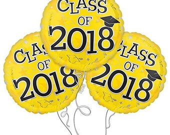 Set of 3 CLASS OF 2018 Yellow Graduation Party Balloons Decoration Supplies