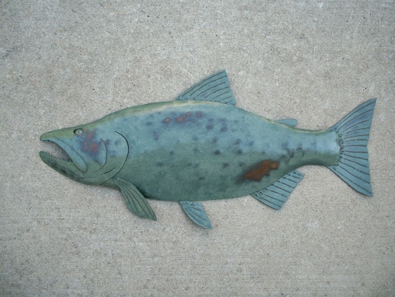 Salmon Metal Fish Wall Art Sculpture 24in Lodge Cottage Cabin Lake