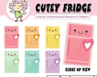50%off Kawaii Refrigerator Clipart, DIGITAL DOWNLOAD, fridge clip art, digital sticker, clean refrigerator art, for use with Goodnotes and c