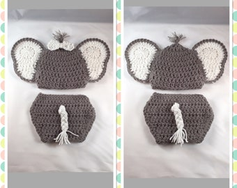 Baby Elephant Outfit Hat Diaper Cover Crochet Newborn Elephant Outfit Baby Crochet Baby Elephant Costume Photo Prop Elephant Boy Girl