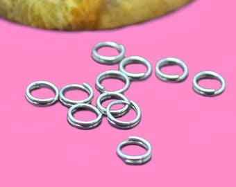 Double 5mm silver colored brass rings