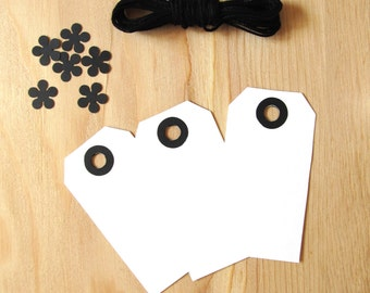 White Tags, Black Reinforced Holes, Gift Tags, Party Favor Tags, Weddings, Showers, Set of 20