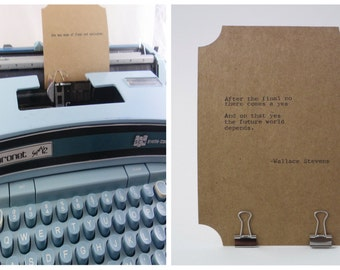 WALLACE STEVENS Quote Card Made on Vintage Typewriter-- Inspirational Poetry Letterpress Typography