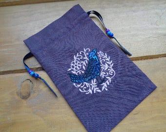 Sacred Raven Keep - Embroidered Tarot, Runes, Crystal or Magical Purpose Bag