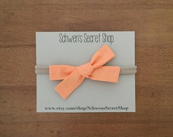 Sherbet hand tied bow, baby girl bows, baby girl headband, nylon headband, baby bow headband, baby hair bow, school girl bow