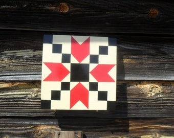 """Small Hand Painted Bear Paw Barn Quilt 11"""" x 11"""" x 3/4"""""""